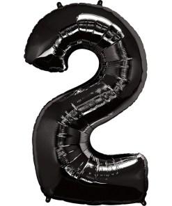 Zahl 2 Schwarz Folienballon H102cm