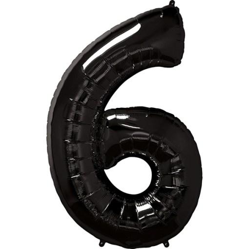 Zahl 6 Schwarz Folienballon H102cm