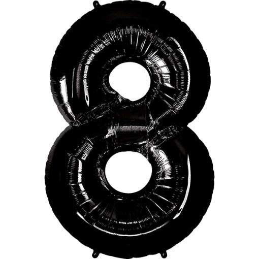 Zahl 8 Schwarz Folienballon H102cm