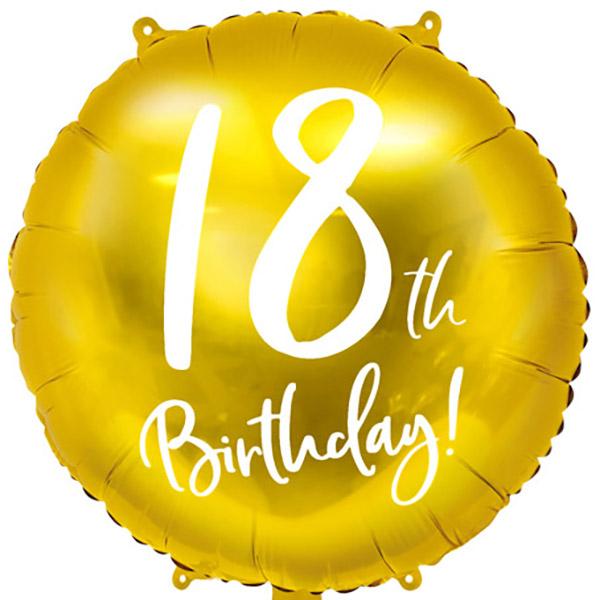 18th Birthday, Folienballon, gold mit weißer Schrift, 45cm