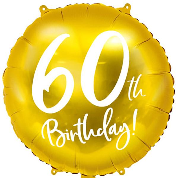 60th Birthday, Folienballon, gold mit weißer Schrift, 45cm