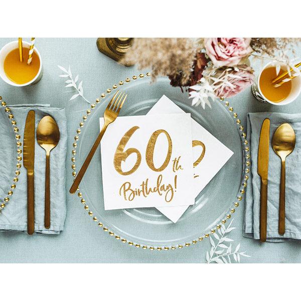60th Birthday, Servietten, weiß mit goldenem Schriftzug, dreilagig, 20 Stk., 33 x 33 cm, Dekobeispiel