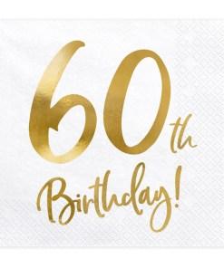 60th Birthday, Servietten, weiß mit goldenem Schriftzug, dreilagig, 20 Stk., 33 x 33 cm
