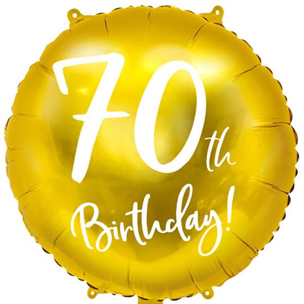 70th Birthday, Folienballon, gold mit weißer Schrift, 45cm