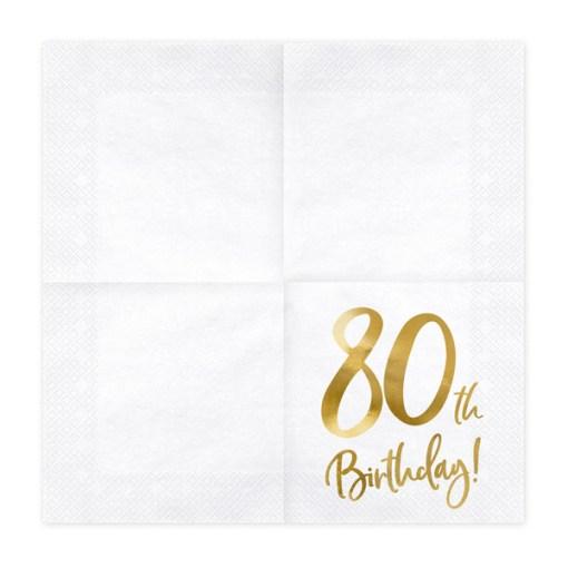 80th Birthday, Servietten, weiß mit goldenem Schriftzug, dreilagig, 20 Stk., 33 x 33 cm, entfaltet