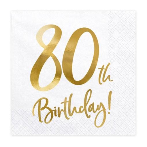 80th Birthday, Servietten, weiß mit goldenem Schriftzug, dreilagig, 20 Stk., 33 x 33 cm