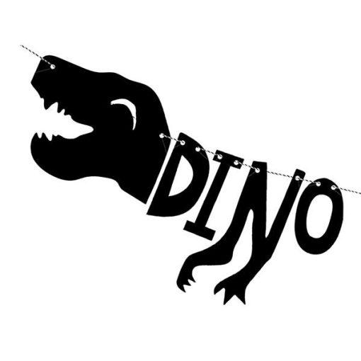 "Girlande ""DINO PARTY"", Dino / T-Rex, Pappe schwarz, 20 x 90 cm, Detail"