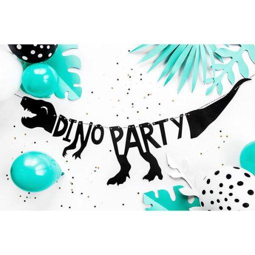 """Girlande """"DINO PARTY"""", Dino / T-Rex, Pappe schwarz, 20 x 90 cm, Dekobeispiel"""