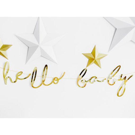 Banner hello baby, Pappe spiegel-gold, Kordel weiß, 18 x 70cm, Dekobeispiel 2