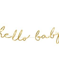Banner hello baby, Pappe spiegel-gold, Kordel weiß, 18 x 70cm