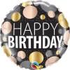 Birthday Big Metallic Dots, HB, schwarz, Punkte silber gold roségold, 46cm