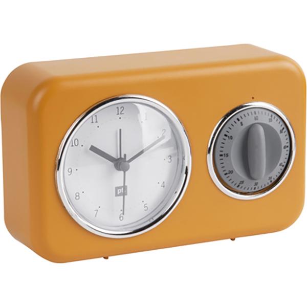 Clock with kitchen timer Nostalgia ochre yellow W. mouse grey timer, 17x11x6cm, Excl. 1 AA batt. Seite