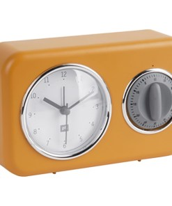 Clock with kitchen timer Nostalgia ochre yellow W. mouse grey timer, 17x11x6cm, Excl. 1 AA batt. Seite