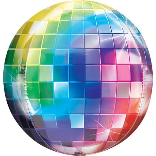 Discokugel-Aufdruck bunt, Folienballon, 40cm