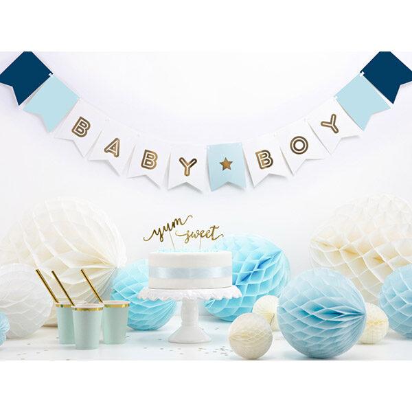 Fahnenkette BABY BOY, Pappe blau-weiß, Golddruck, Kordel weiß 15 x 160cm, Dekobeispiel 2