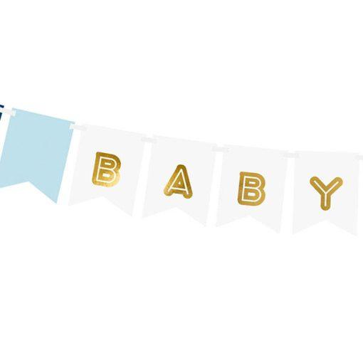 Fahnenkette BABY BOY, Pappe blau-weiß, Golddruck, Kordel weiß 15 x 160cm, Detail