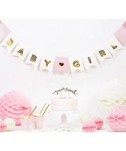 Fahnenkette BABY GIRL, Pappe rosa-weiß, Golddruck, Kordel weiß 15 x 175cm Beispielbild 2