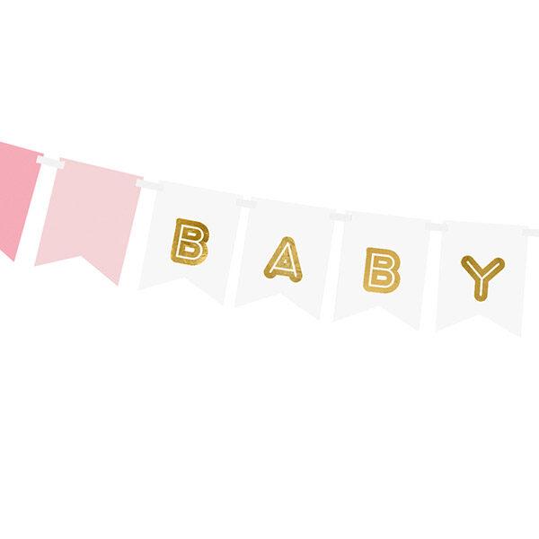 Fahnenkette BABY GIRL, Pappe rosa-weiß, Golddruck, Kordel weiß 15 x 175cm, Detail
