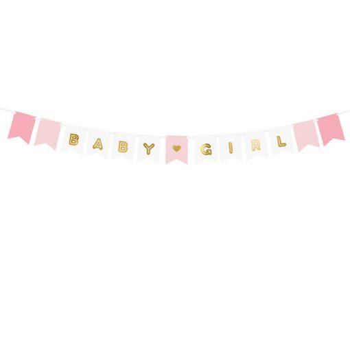 Fahnenkette BABY GIRL, Pappe rosa-weiß, Golddruck, Kordel weiß 15 x 175cm