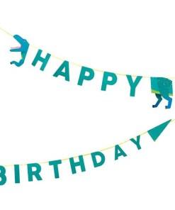 Girlande HAPPY BIRTHDAY, Dino, T-Rex, Pappe bunt, L 2,5 m, geteilt