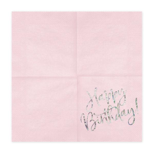 Happy Birthday, Servietten, hell puder rosa, mit holografischem Schriftzug, dreilagig, 20 Stk., 33 x 33 cm, entfaltet