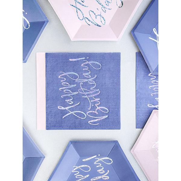 Happy Birthday, Servietten, königsblau mit holografischem Schriftzug, dreilagig, 20 Stk., 33 x 33 cm, Dekobeispiel