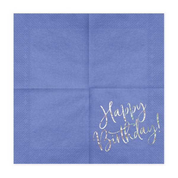 Happy Birthday, Servietten, königsblau mit holografischem Schriftzug, dreilagig, 20 Stk., 33 x 33 cm, entfaltet
