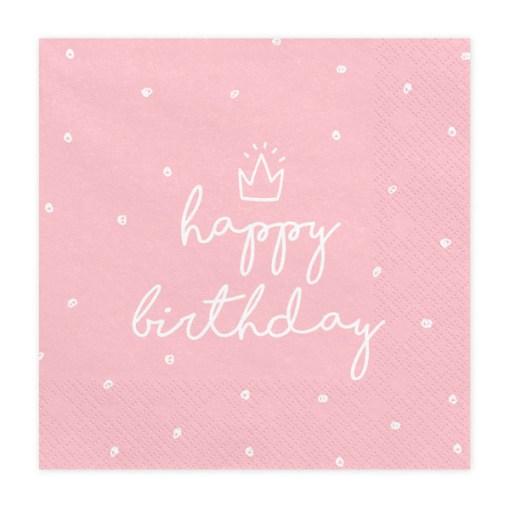 Happy Birthday, Servietten, rosa, mit weißem Schriftzug, dreilagig, 20 Stk., 33 x 33 cm