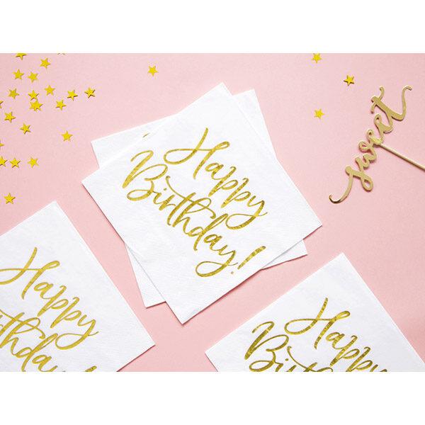 Happy Birthday, Servietten, weiß mit goldenem Schriftzug, dreilagig, 20 Stk., 33 x 33 cm, Dekobeispiel