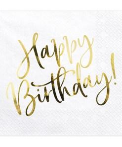 Happy Birthday, Servietten, weiß mit goldenem Schriftzug, dreilagig, 20 Stk., 33 x 33 cm