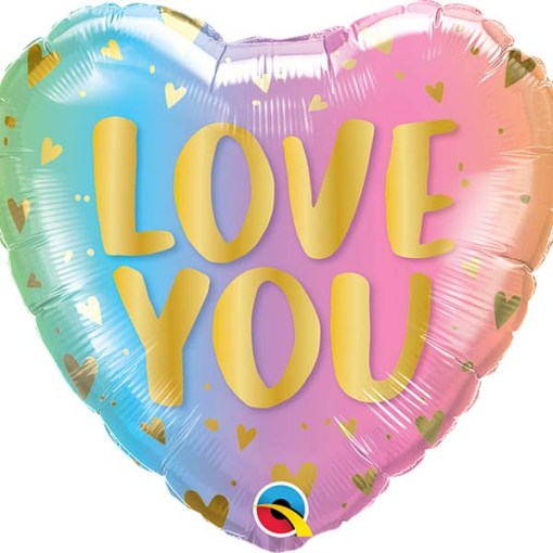 Love You Pastel Ombre & Hearts, Herz LOVE YOU Pastell-Farbverlauf, 46cm