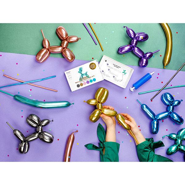 Modellierballon-Kit, 6 Chromefarben sort. a 130 cm, Anleitung, Pumpe, Beispielbild Gesamtpaket