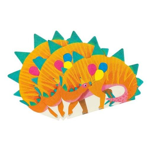 Servietten in Dinoform, orange/grün/bunte Ballons, circa 17cm x 16cm, 16er Pack aufgefächert