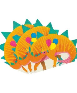 Servietten in Dinoform, orange/grün/bunte Ballons, circa 17cm x 16cm, 16er Pack aufgefächert