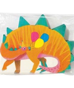 Servietten in Dinoform, orange/grün/bunte Ballons, circa 17cm x 16cm, 16er Pack Packung