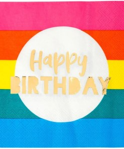 Servietten, Happy Birthday, Regenbogen, 16 Stck, 33x33cm