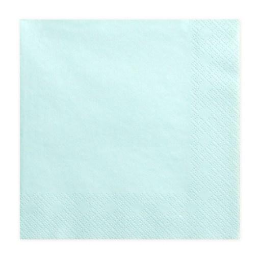 Servietten, blass türkis, dreilagig, 20 Stk., 33 x 33 cm
