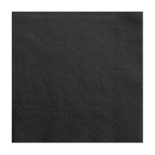 Servietten, schwarz, dreilagig, 20 Stk., 33 x 33 cm
