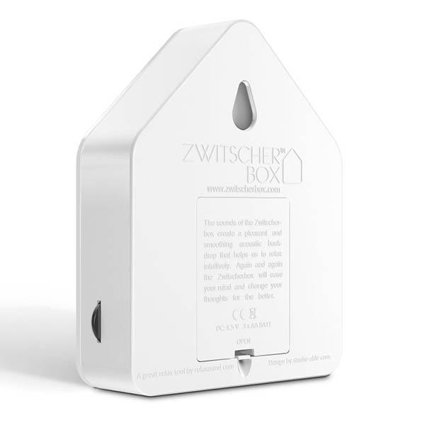 Zwitscherbox Weiß B 110 x H 145 x T 35mm Plexiglas Rückseite