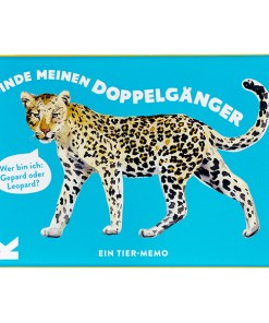 Finde meinen Doppelgaenger, Tier Memo Spiel, Box, 50 Karten mit Booklet, 145 x 100mm, Cover