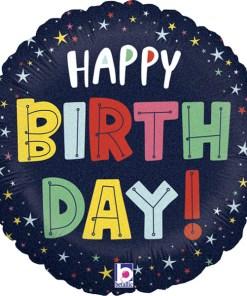 Happy Birthday, Sterne, Glitzernd, Folienballon, rund, 45cm