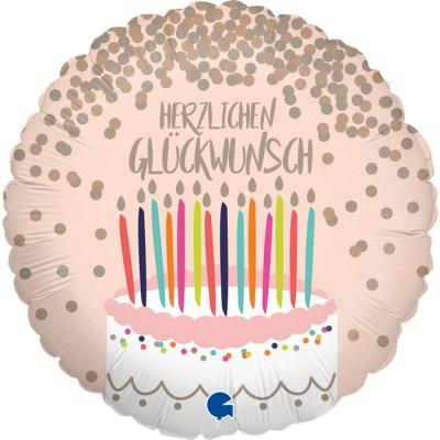 Herzlichen Glueckwunsch, Kuchen mit Kerzen, Folienballon, rund, 45cm