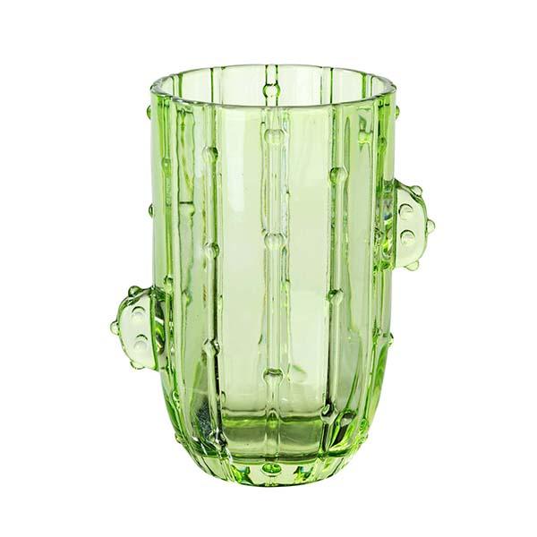 Kaktus-Trinkglas, Klarglas grün, D 8 H 13 cm