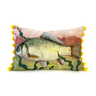 Kissen Atlantic, inkl. Füllung, gelb-rosa Fisch, Pompom-Kante gelb, 100Proz Baumwolle, 40 x 60 cm