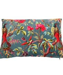 Kissen, inkl. Fuellung, petrol, Paradisgarten Pfauen und Blumen, Samt, 100Proz Baumwolle, 40 x 60 cm