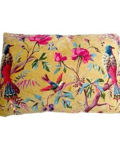 Kissen, inkl. Fuellung, senf, Paradisgarten Pfauen und Blumen, Samt, 100Proz Baumwolle, 40 x 60 cm