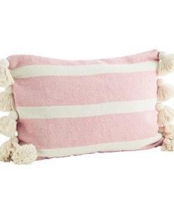 Kissenhülle grob gewebt, Blockstreifen gebr.weiß rosa,10 dicke Troddeln, Baumwollmischung inkl. Daunen-Kissenfüllung, 40x60cm