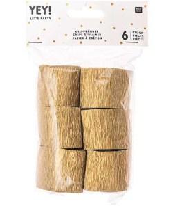Kreppbaender Packung gold, 3,5 CM X 10 M, 6 STK, verpackt