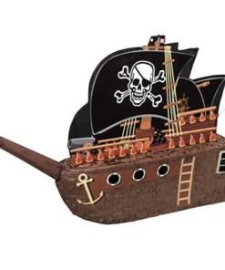 Pinata Piratenschiff, Pappmasche schwarz-braun 44 x 66 cm