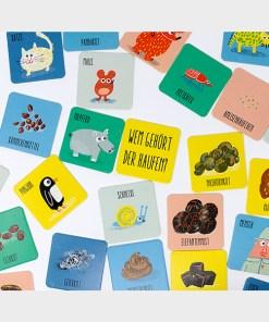 Wem gehoert der Haufen, Memo-Spiel, Box 54 Karten, 131x131mm, ab 3 Jahren, Kartenbeispiel 2